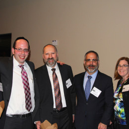 l. to r., event chair Donny Basch, Kollel scholar Rabbi Akiva Stern, event chair Ken Major, Larry and Cindy Halpern